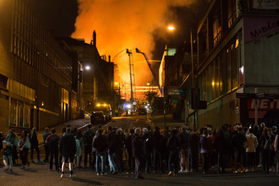 The Mackintosh Building at the Glasgow School Of Art ablaze for the second time in four years on June 16, 2018