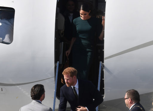 Prince Harry, Duke of Sussex and Meghan, Duchess of Sussex arrive at Dublin city airport on their official two day royal visit to Ireland, 2018.