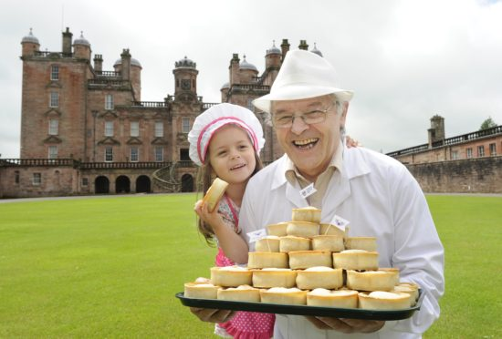 Kerr Little, master baker from Dumfries, launches Galloway Country Fair 2019 with a specially selected range of pies with Holly Byrnes, age four from Uddingston,