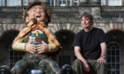 Author Ian Rankin supporting the Edinburgh Children's Hospital Charity with the Sherlock Holmes Oor Wullie Statue