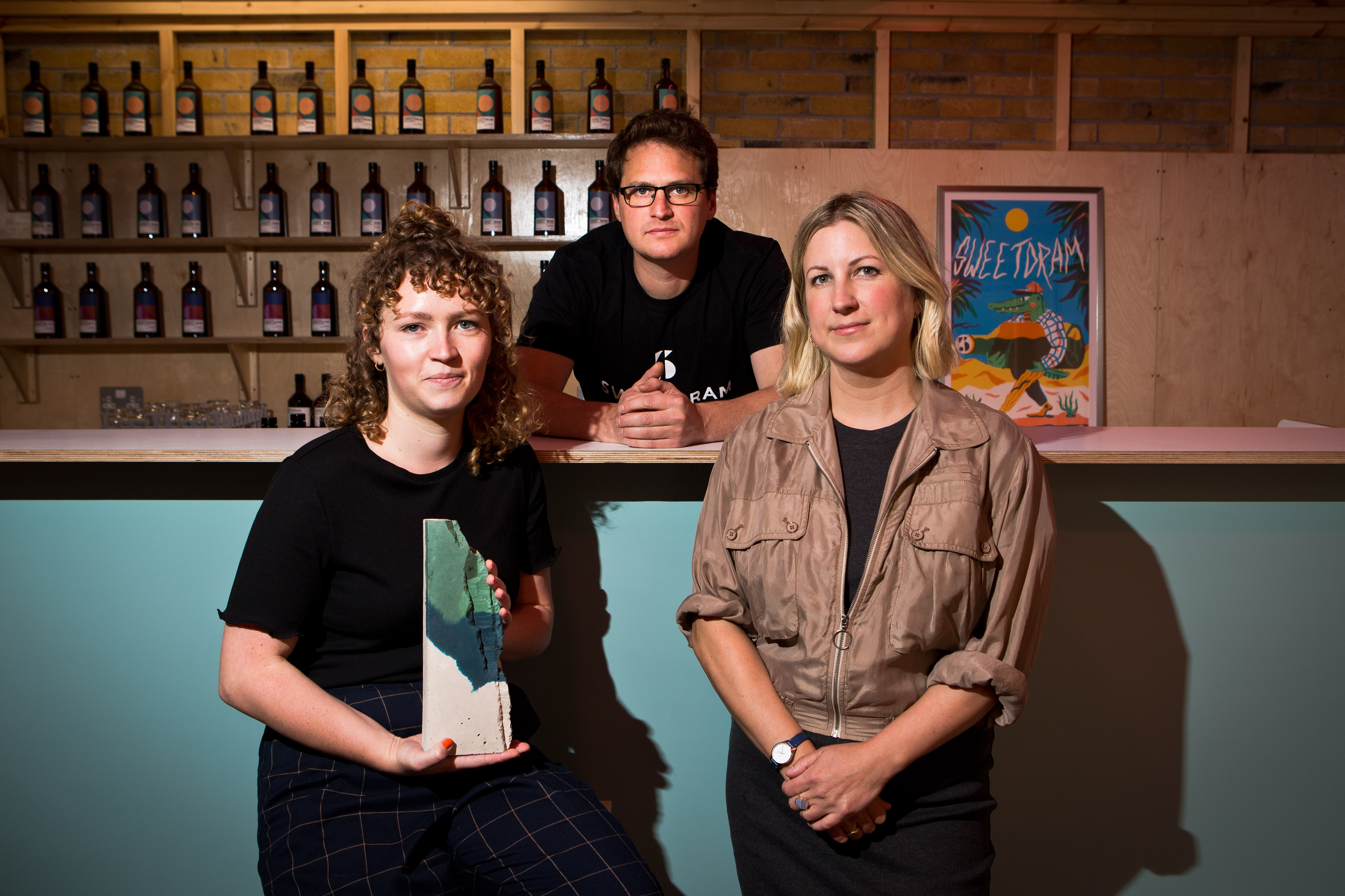 (left to right) Edinburgh designer Emma McDowall, Sweetdram director Daniel Fisher and Local Heroes founder Stacey Hunter