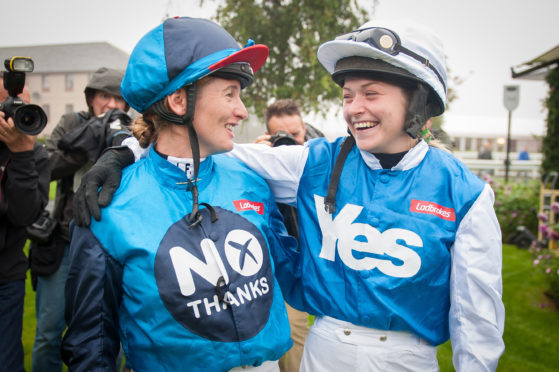 Jockeys Carol Bartley (left) and Rachel Grant, who rode No and Yes horses respectively, in a two-horse race at Musselburgh racecourse, in the Ladbrokes sponsored, Referendum Race.
