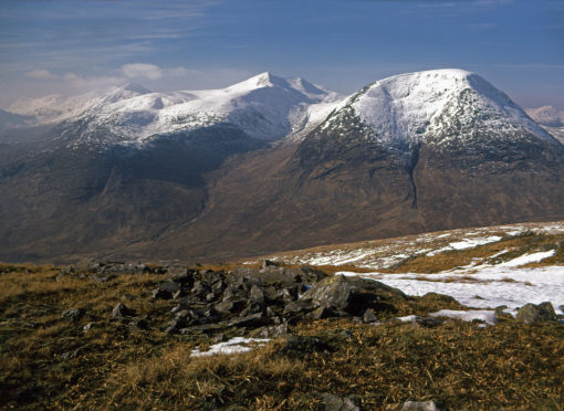 The popular mountain Ben Starav, 1,078m, rises in the centre amid the peaks above Glen Etive, Argyll
