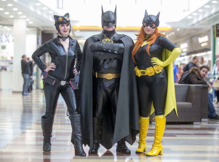 Stephanie McEwan, aged 23, from Cumbernauld is Catwoman and 20-year-old Jade Tyler, from Kirkcaldy is Batgirl as they meet up with Batman