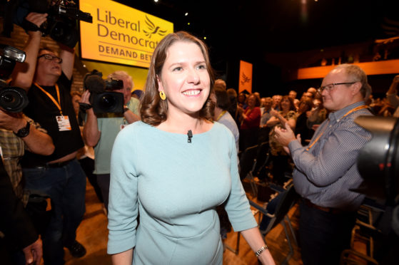 Liberal Democrat leader, Jo Swinson delivers her first keynote speech at the Liberal Democrat Party Conference at the Bournemouth International Centre on September 17, 2019 in Bournemouth, England.