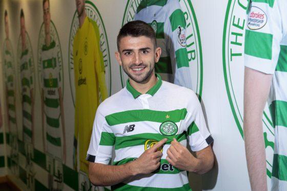 Greg Taylor pictured after signing for Celtic