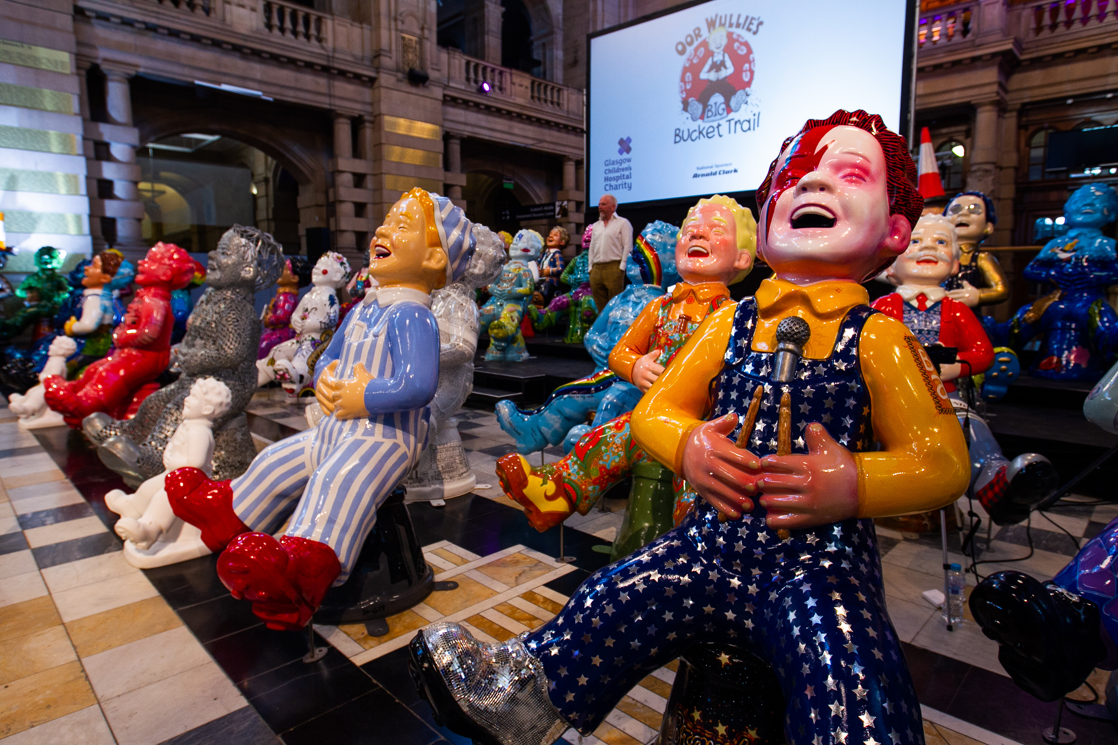 The Oor Wullie statues in Glasgow.
