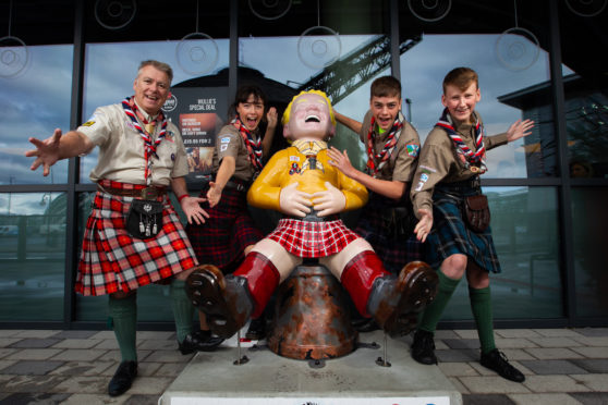 Derek Dunsire, Ellie Perkins, Jack Sharp and Rory Dent of the East Scotland Scouts – who are hoping to raise enough cash to buy a Wullie statue – at the Radisson Red Hotel in Glasgow