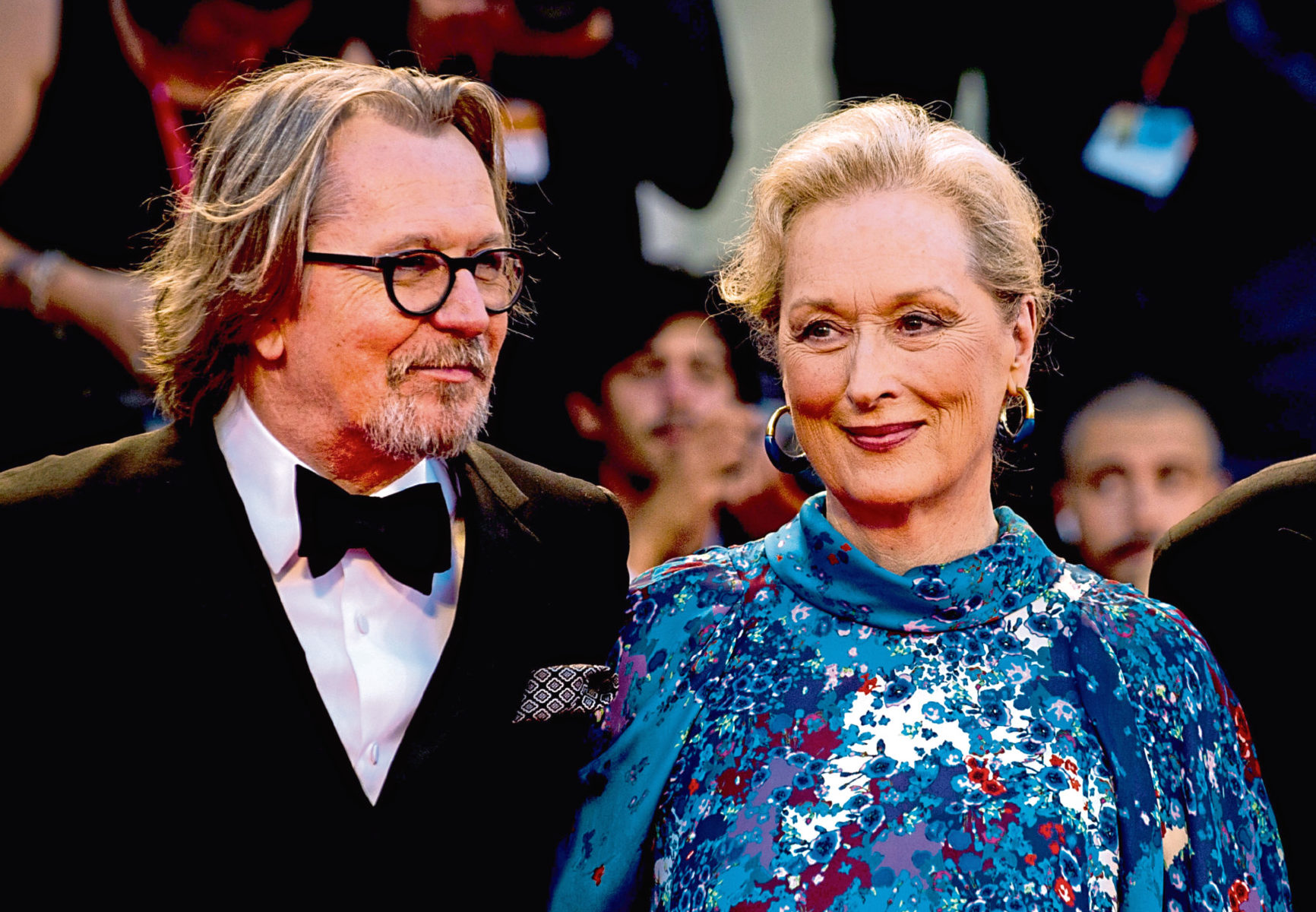 Meryl Streep with co-star Gary Oldman on the red carpet