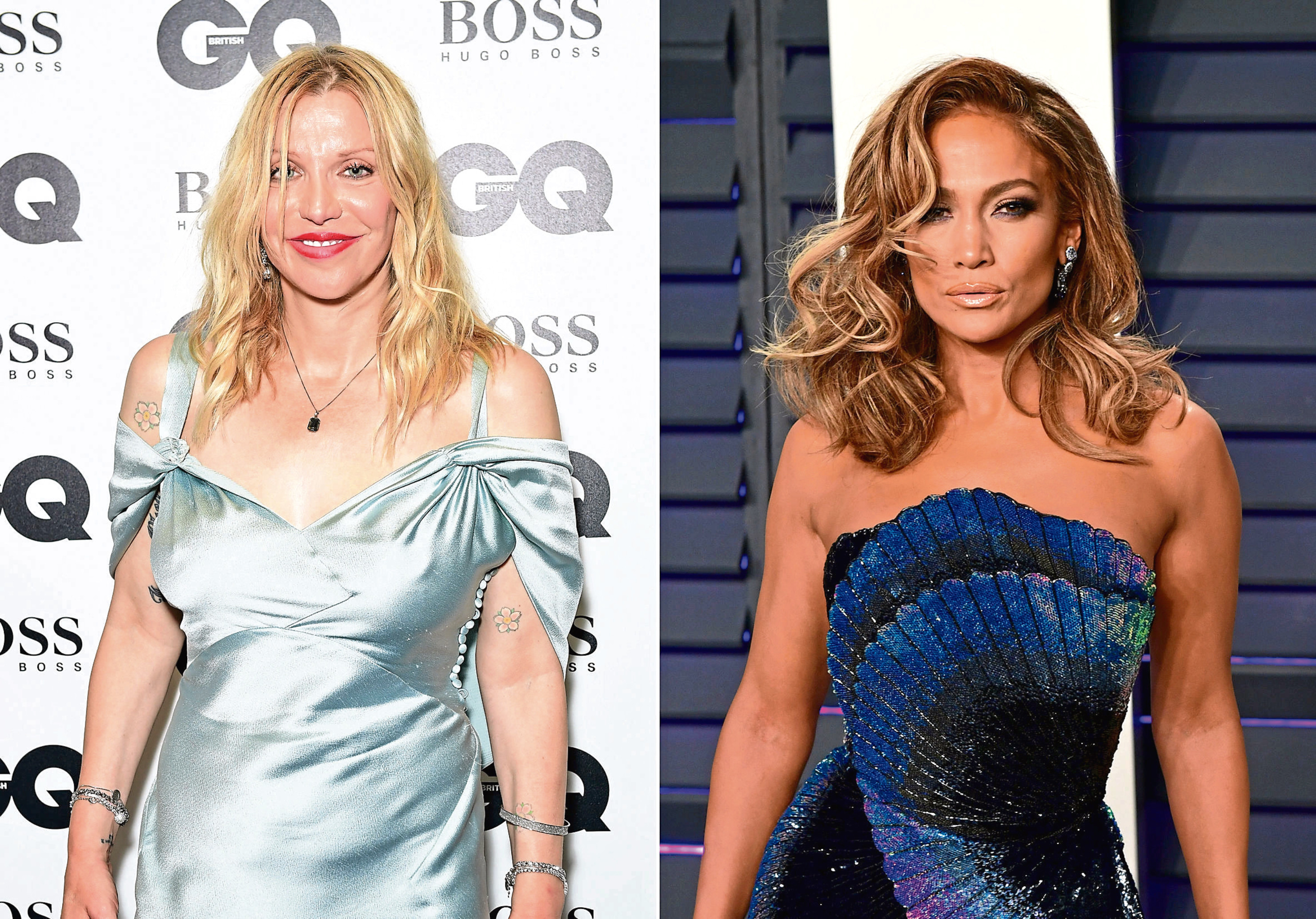 Courtney Love (l) and Jennifer Lopez (r).