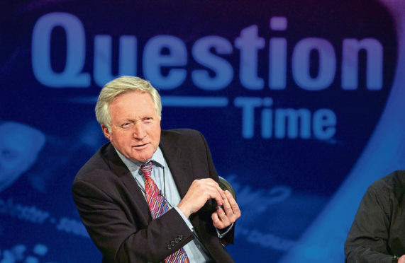 Picture showws - David Dimbleby on 'Question Time'. David Dimbleby invites the public to put key representatives on the hot seat and debate topical affairs. (Photo by Jeff Overs/BBC News & Current Affairs via Getty Images)