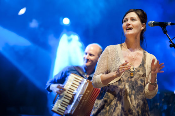 Karen on stage with Capercaillie