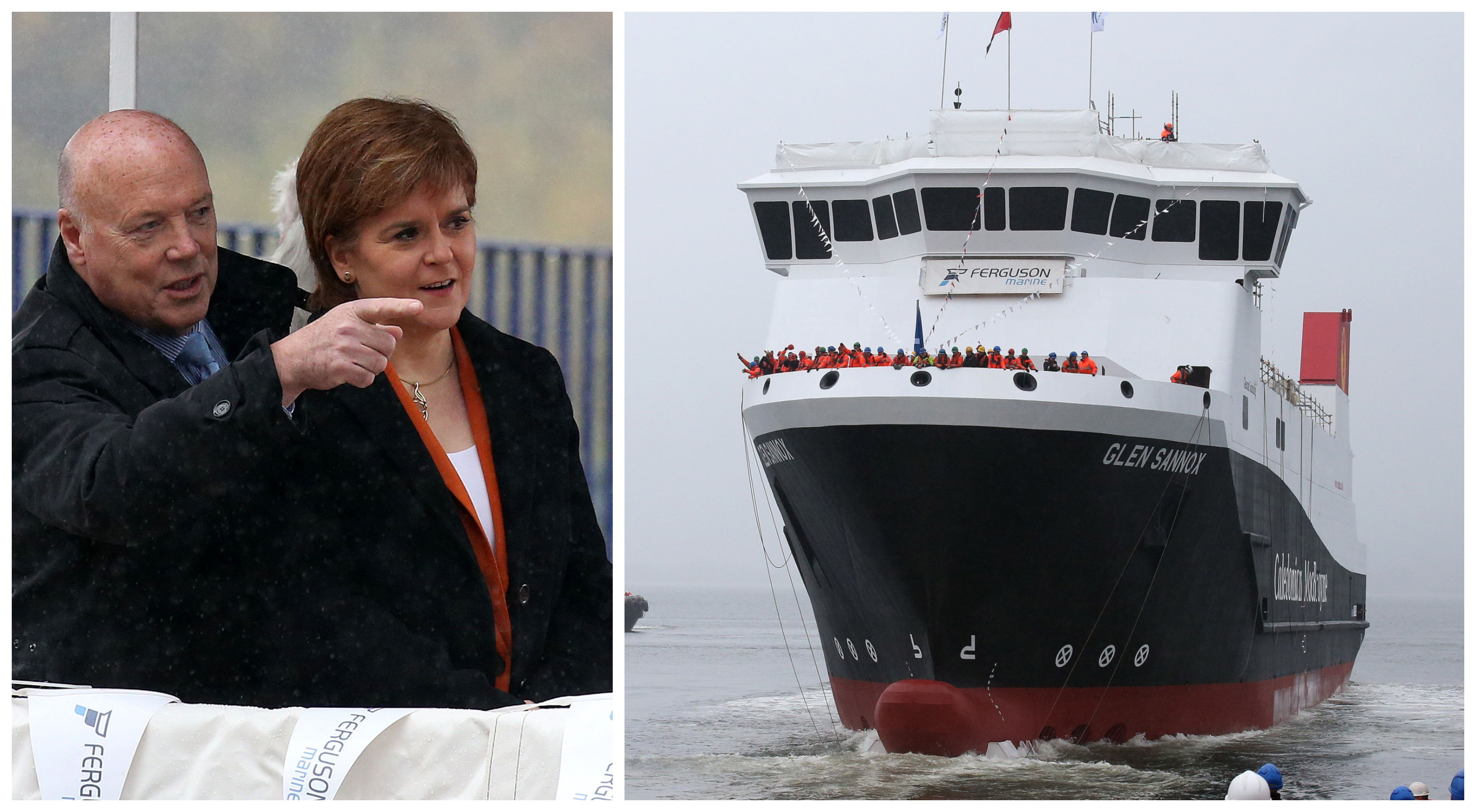 Jim McColl and Nicola Sturgeon, left, watch on after she launched the MV Glen Sannox  at the Ferguson Shipyard in 2017