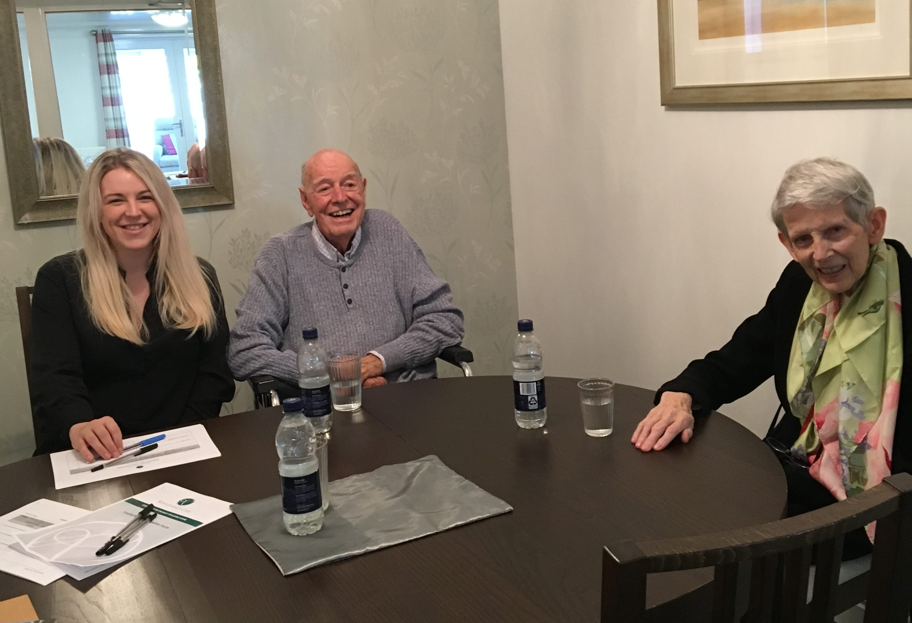 Home manager Jozi Stabes with residents Ian Arnott and Norma Christie