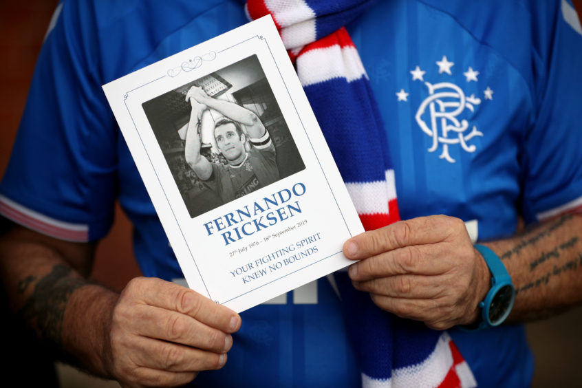 Supporters gather to pay tribute to former Rangers player Fernando Ricksen