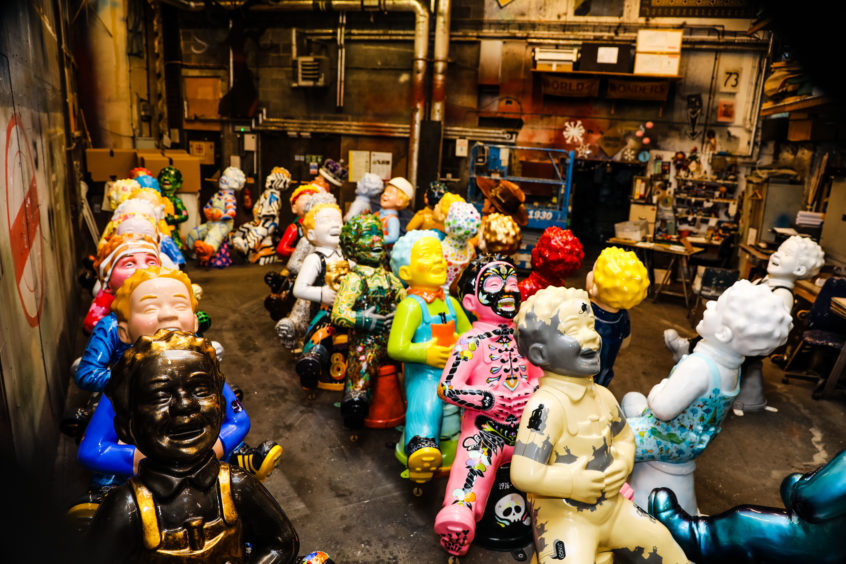 The statues lined up ready for auction