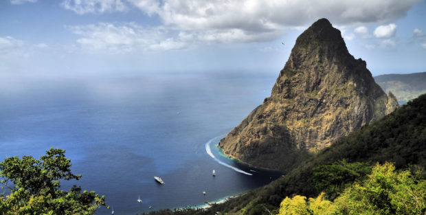 One of St Lucia's huge volcanic plugs called Pitons
