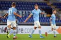 Lazio players in action against Rennes