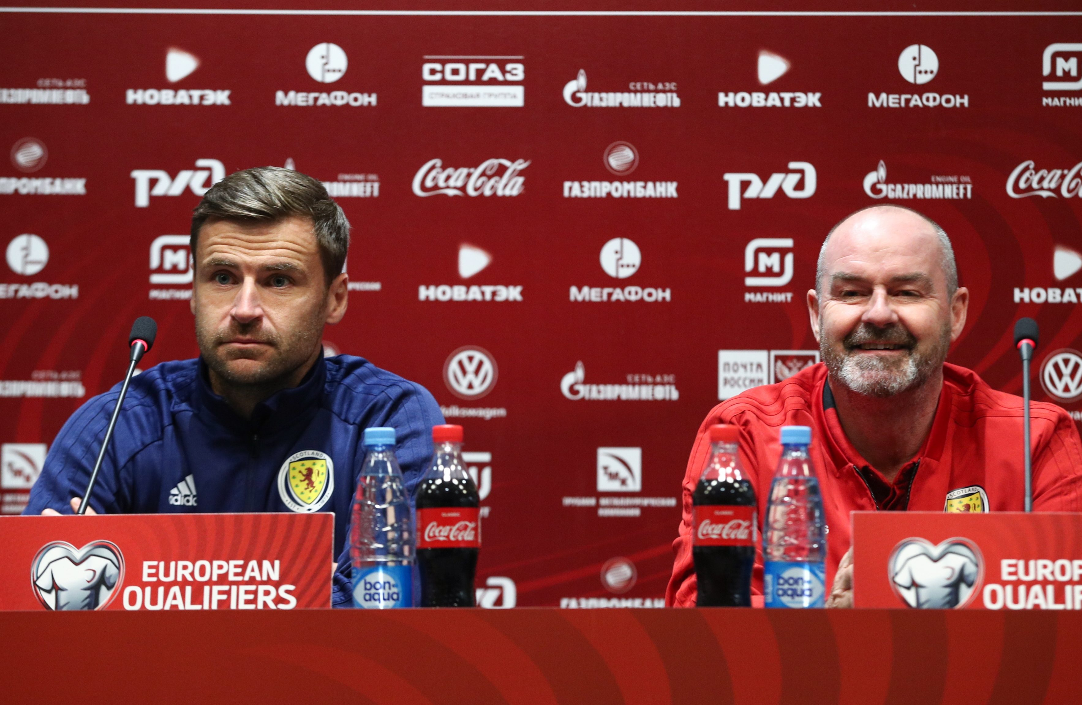 Scotland goalkeeper David Marshall (L) with boss Steve Clarke
