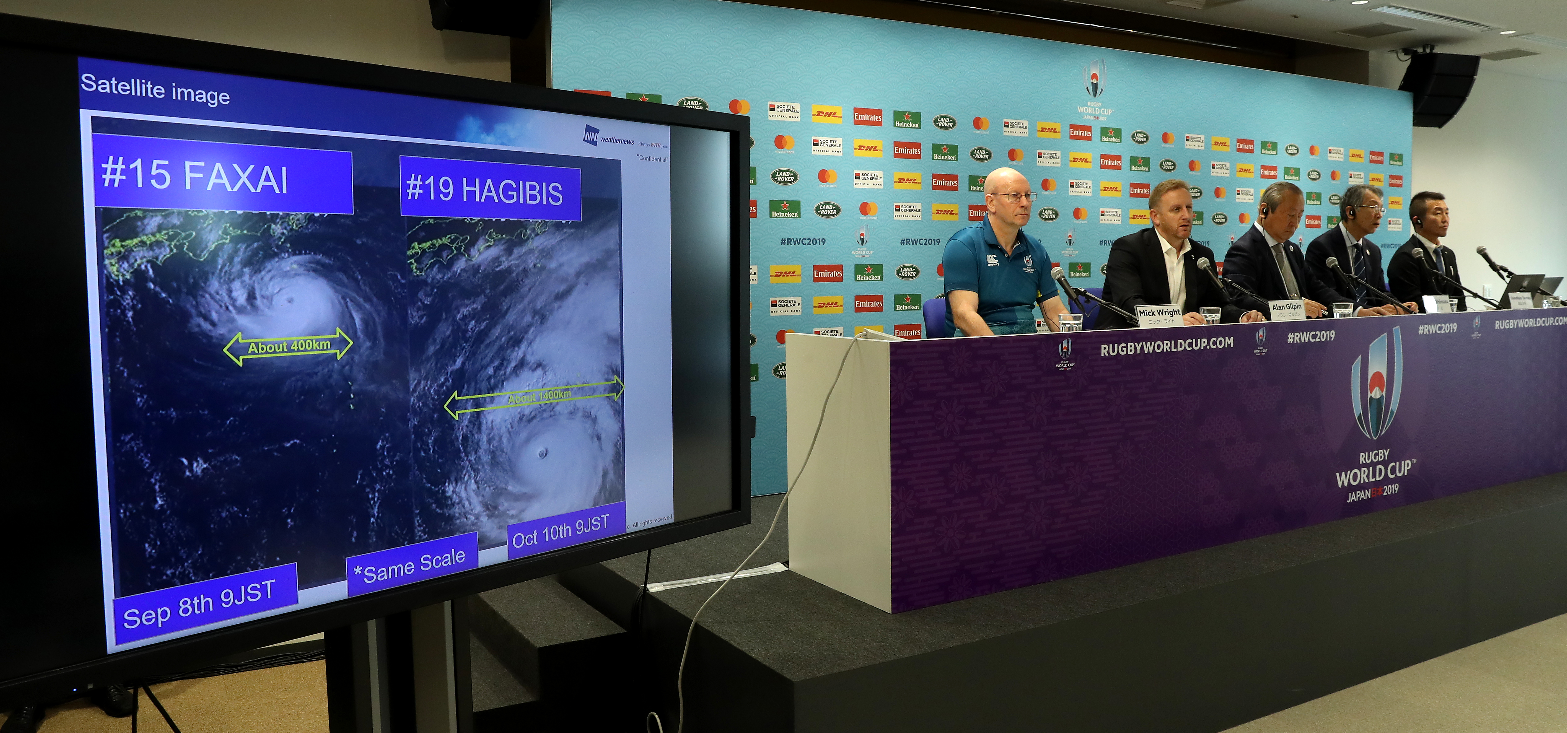 Rugby World Cup tournament chiefs announce match cancellations