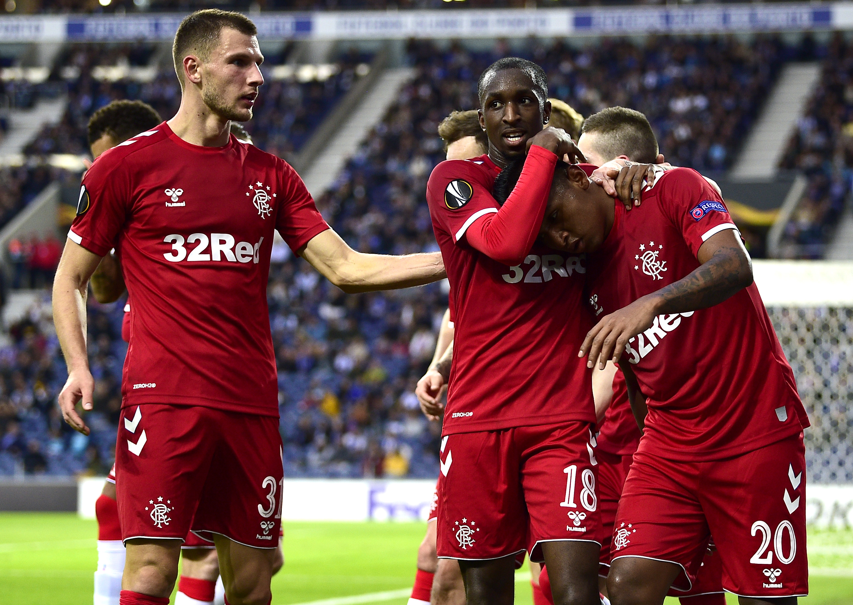 Borna Barisic, left, provided the assist for Rangers' goal