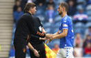 Rangers manager Steven Gerrard (L) with Borna Barisic