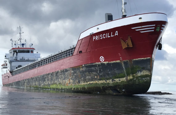 MV Priscilla grounded in the Pentland Skerries off Orkney.