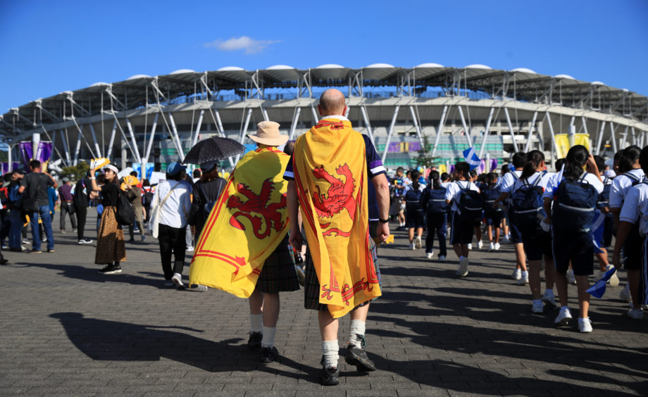 Scotland fans arrive at the stadium