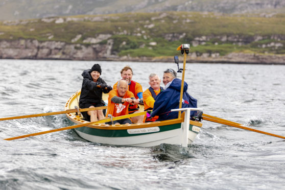 Lorraine rowing the Minch