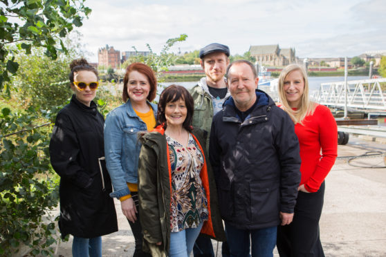 Producer Jemima Levick, far left, and writer Frances Poet, right, with Fibres stars Suzanne Magowan, Maureen Carr, Ali Craig and Jonathan Watson