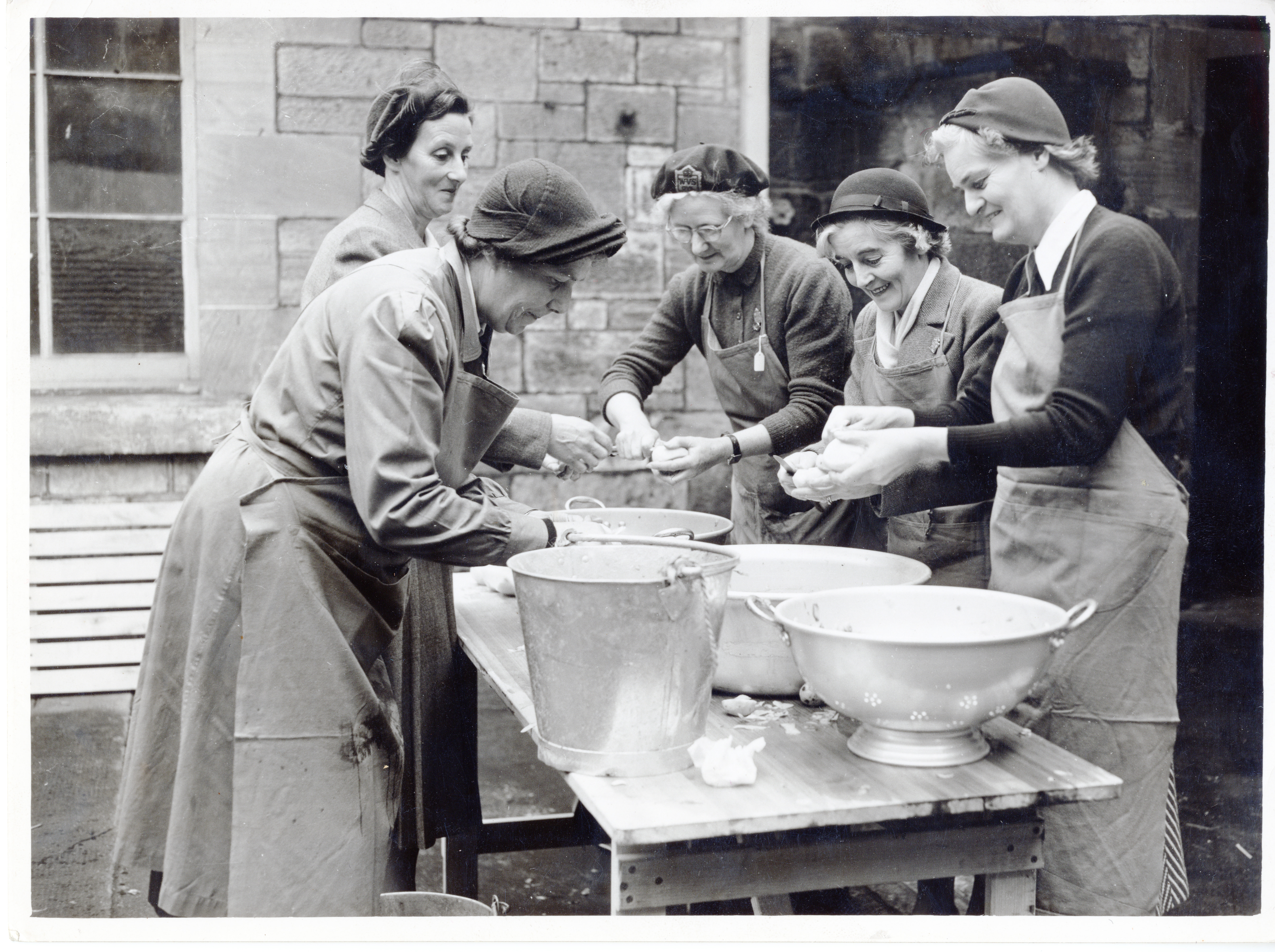 Emergency feeding exercise for 70 people, led by Mrs. J.G. Ritchie, Dumbarton, October 22, 1953.