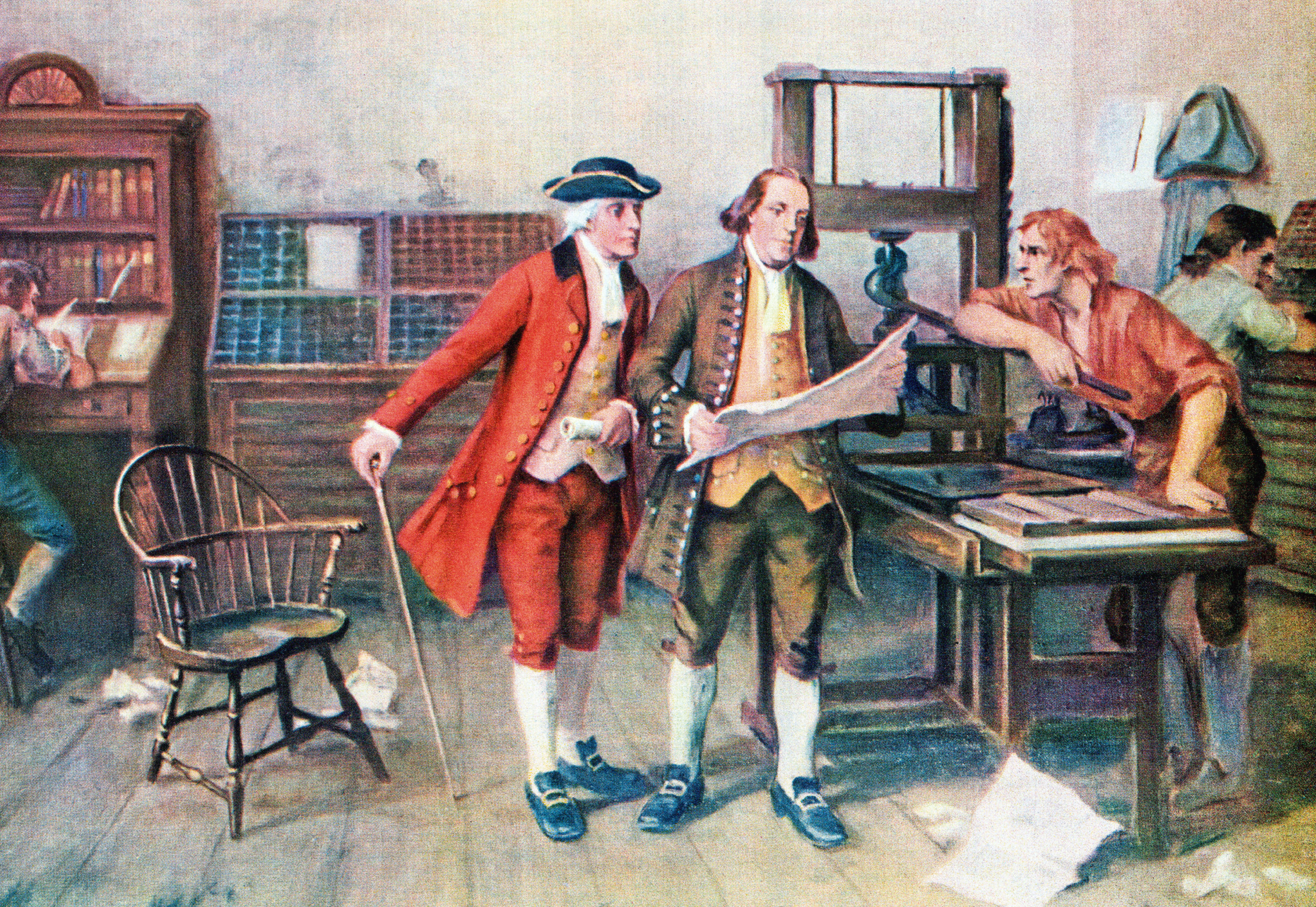 Another hoax? 1732 portrait of Benjamin Franklin, who inserted  a fake chapter into the Bible, and associates in printing presses