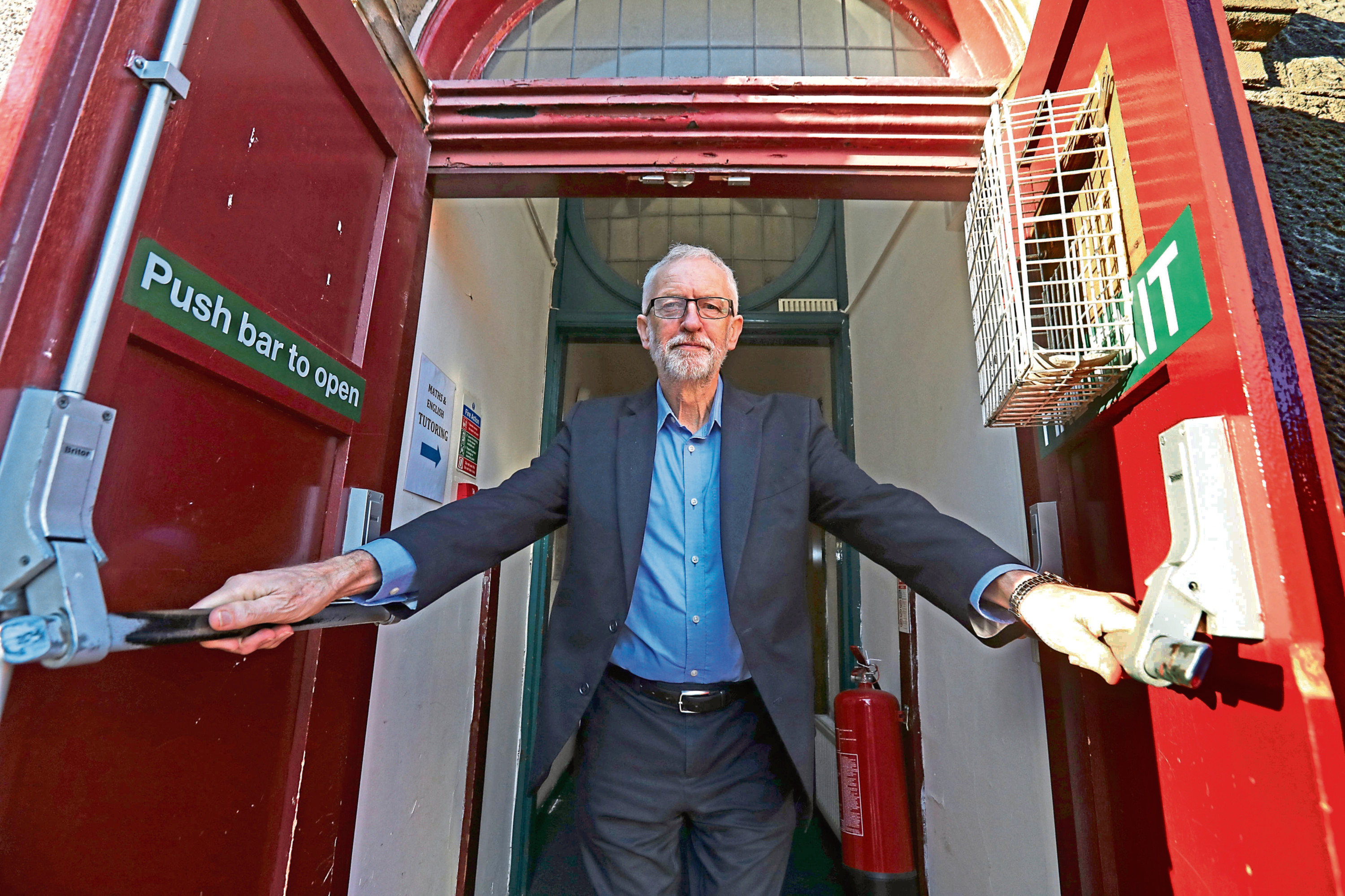 Labour leader Jeremy Corbyn in Motherwell yesterday