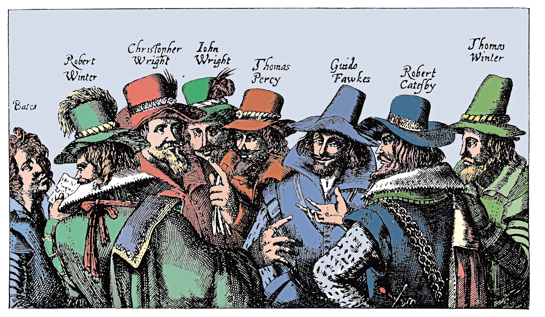 Guy Fawkes and the Gunpowder Plotters, 1605.