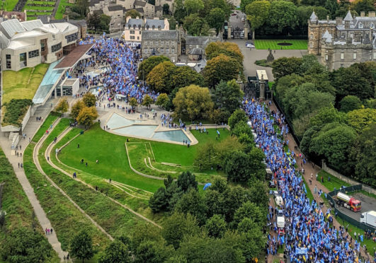 The All Under One banner march in Ediinburgh October 5, 2019.