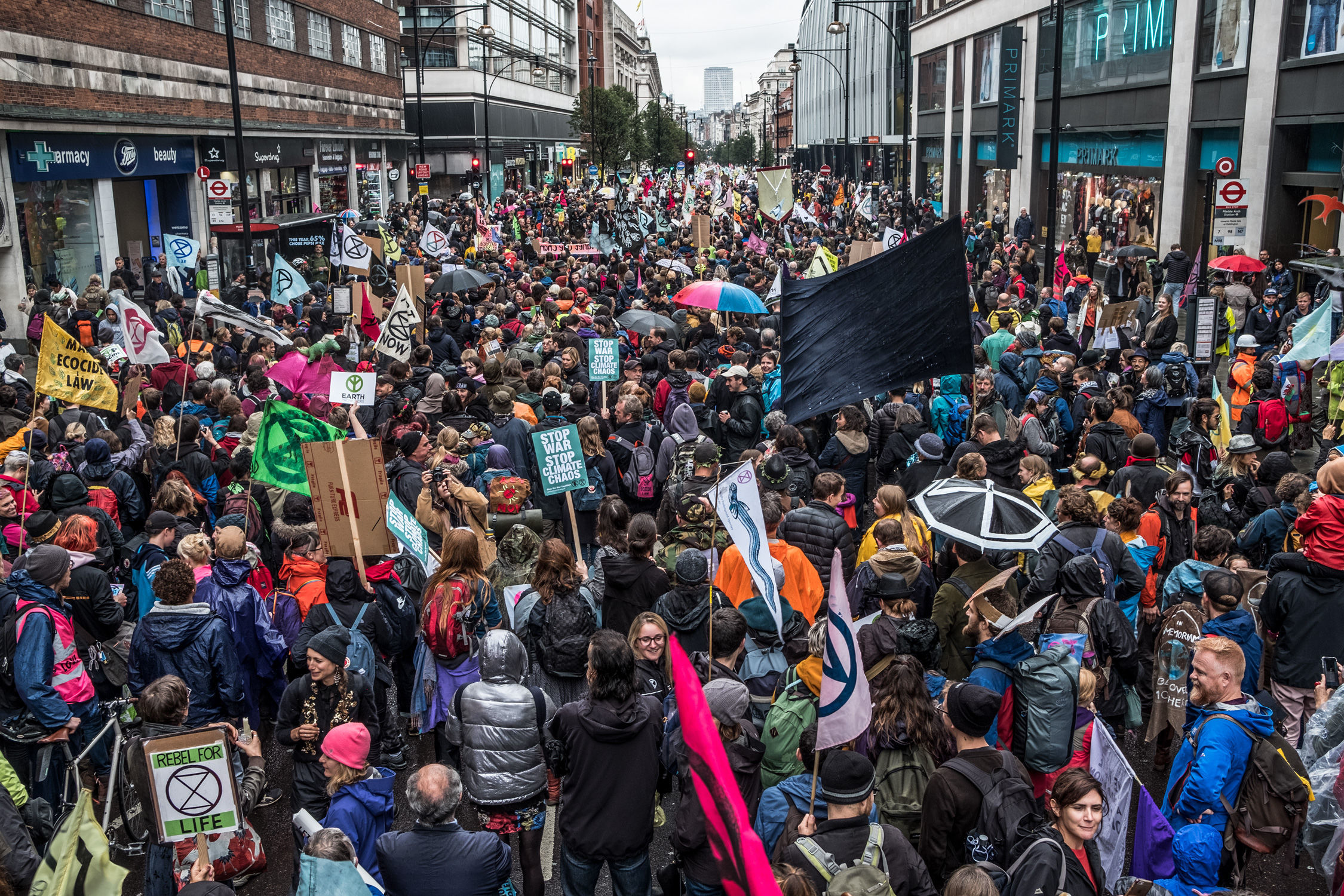Extinction Rebellion (XR) climate change protesters on Oxford Street, London