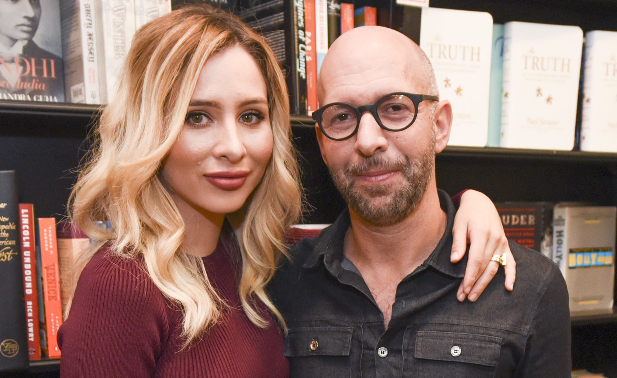 Neil Strauss with Ingrid De La O at a book signing in West Hollywood in 2015