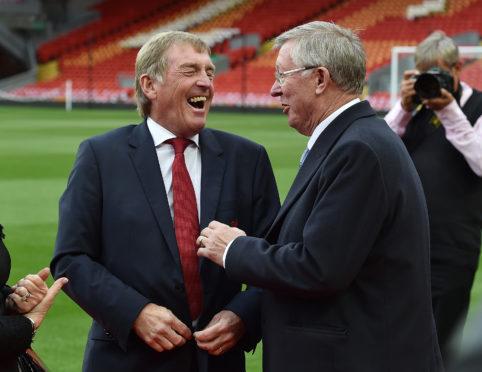 Kenny Dalglish and Alex Ferguson share a joke