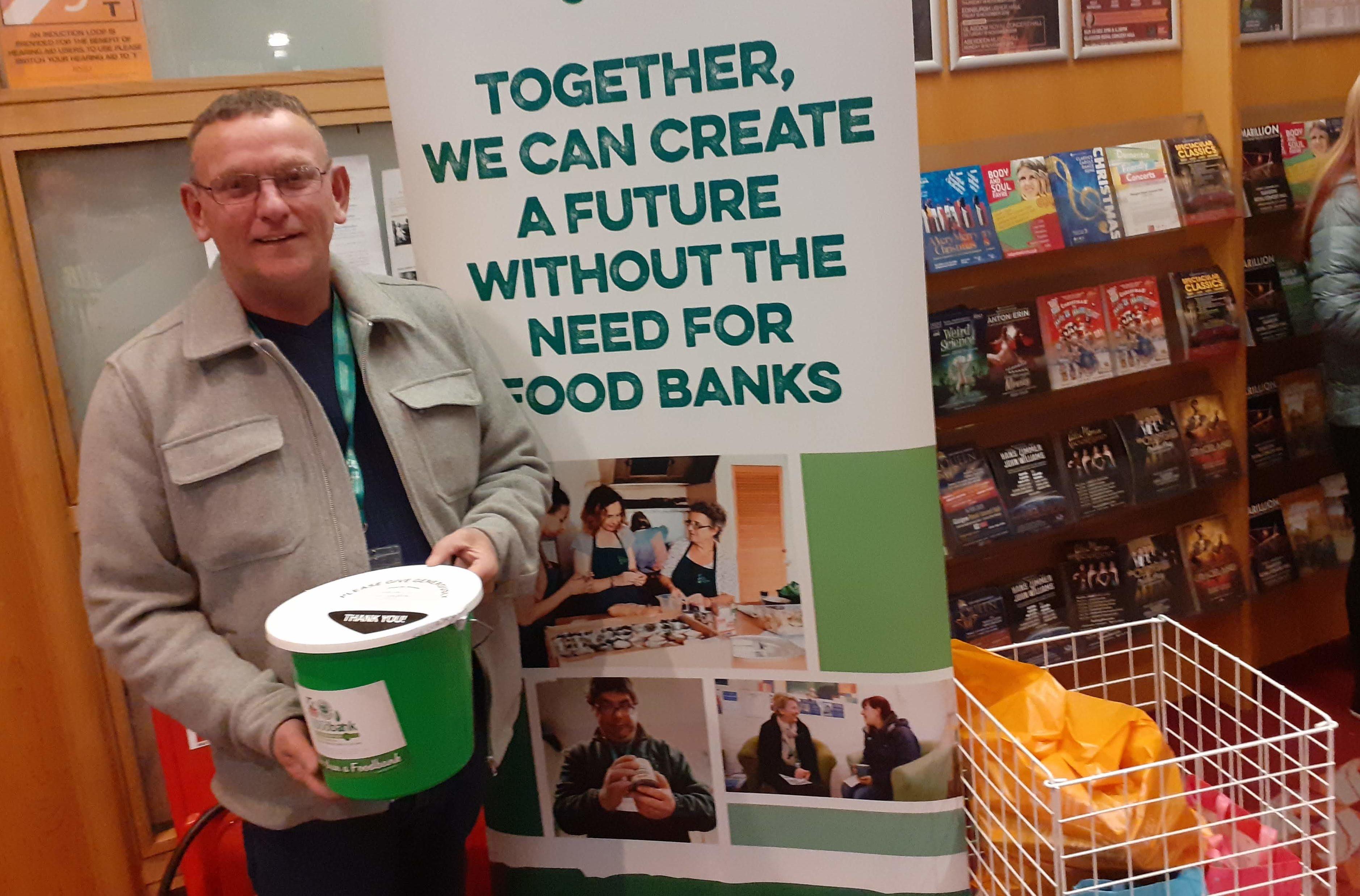 Glasgow foodbank volunteer Thomas at the gig
