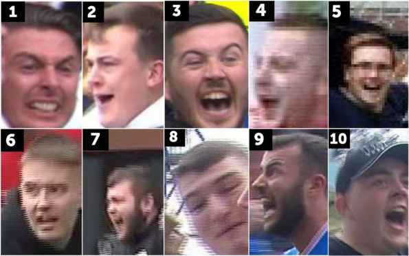 10 of 20 men police believe may be able to assist with enquiries in relation to various incidents which occurred at Rugby Park, Kilmarnock on 4 August 2019
