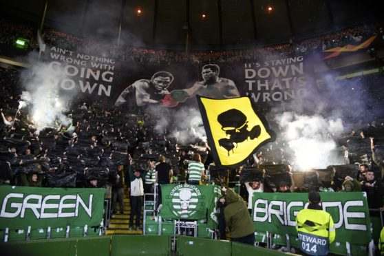 A fan display ahead of last Thursday's match against Cluj