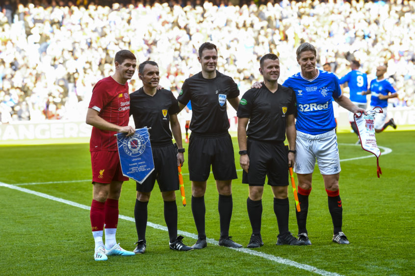 Gerrard started the match as Liverpool captain, with Richard Gough captaining Rangers