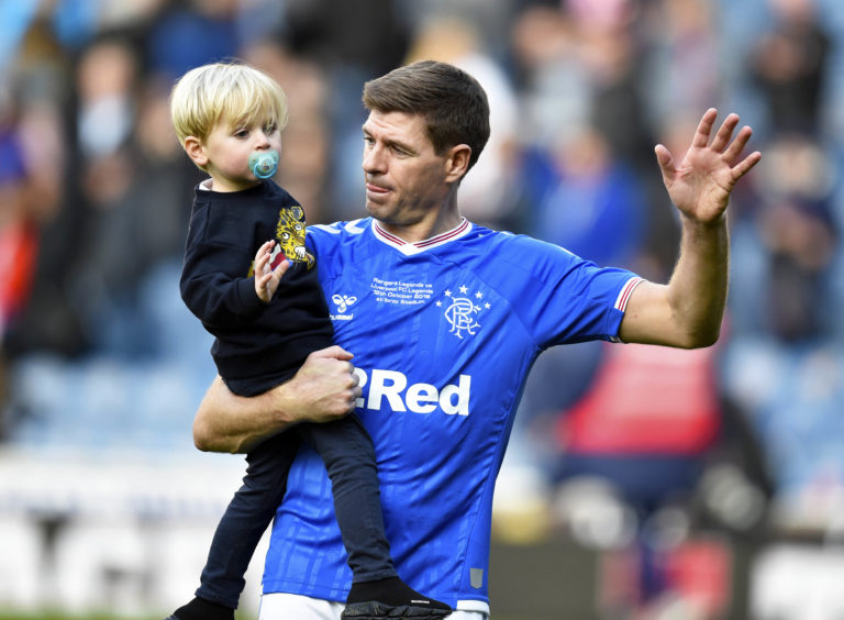 Steven Gerrard with son Lio at full time