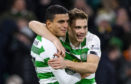 Celtic's James Forrest celebrates with Mohammed Elyounoussi