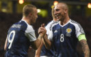 Scott Brown with Leigh Griffiths during his last Scotland cap, against Malta in 2017