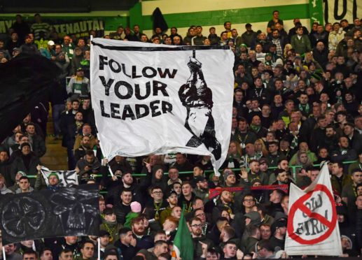 One of the banners at Celtic Park which once more alerted UEFA to the Green Brigade