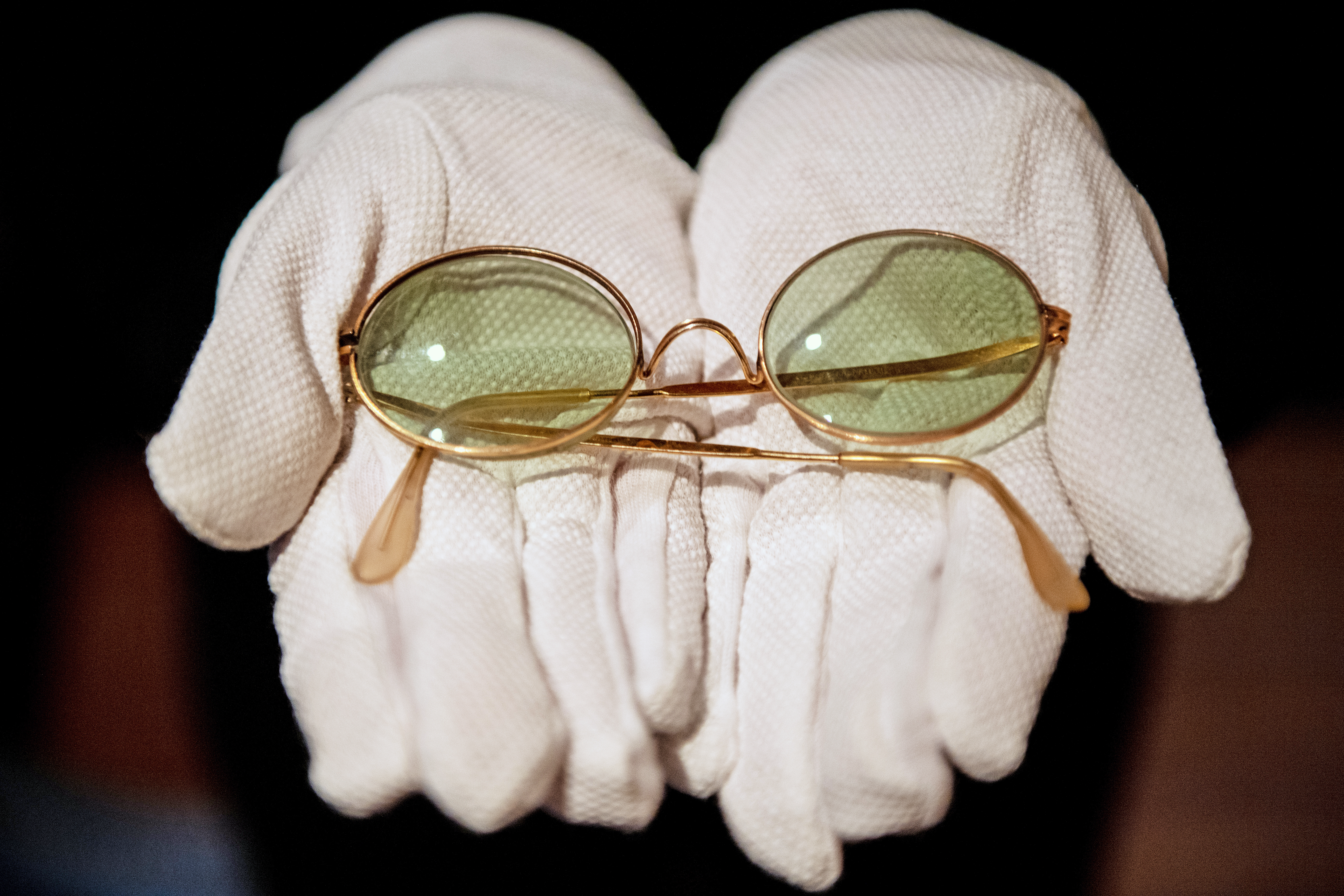 John Lennon's round sunglasses which are estimated to sell for £8,000 when they go up for auction.
