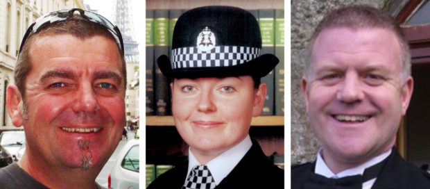 """(Left to right) helicopter pilot David Traill with police officers Kirsty Nelis and Tony Collins. The widower of a police officer killed after a force helicopter crashed into the Clutha pub in Glasgow has said he is """"deeply concerned and frustrated"""" by the outcome of an inquiry."""