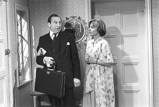 Reggie Perrin (Leonard Rossiter) with long-suffering wife Elizabeth (Pauline Yates)