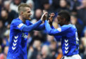 Jermain Defoe celebrates with Steven Davis